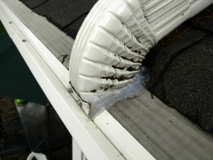 Lower Gutter Connected to Upper gutter With Downspout