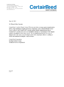 CertainTeed Letter on Gutter Covers