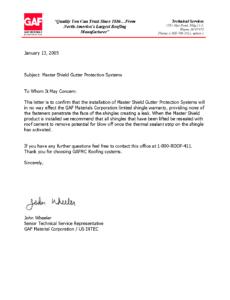 GAF Letter on Gutter Covers