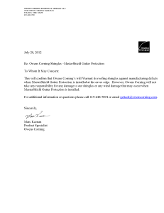 Owens Corning Letter on Gutter Covers