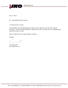 IKO Letter on Gutter Covers